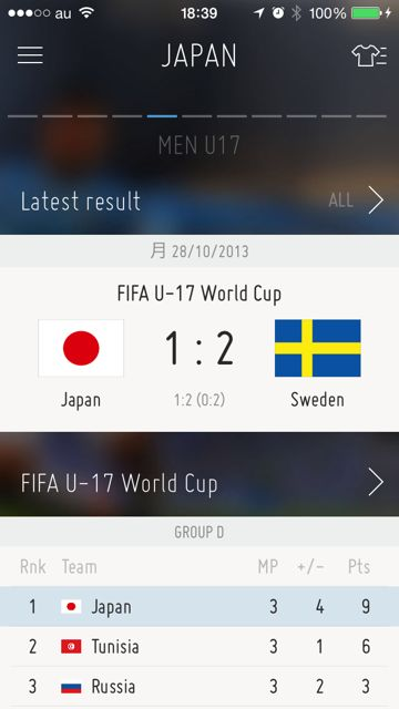 iPhone FIFA Official App サッカー 試合結果 - 13