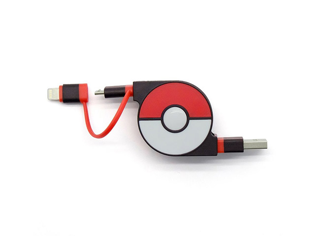 cheero 2in1 Retractable USB Cable with Lightning & micro USB POKEMON version 70cm